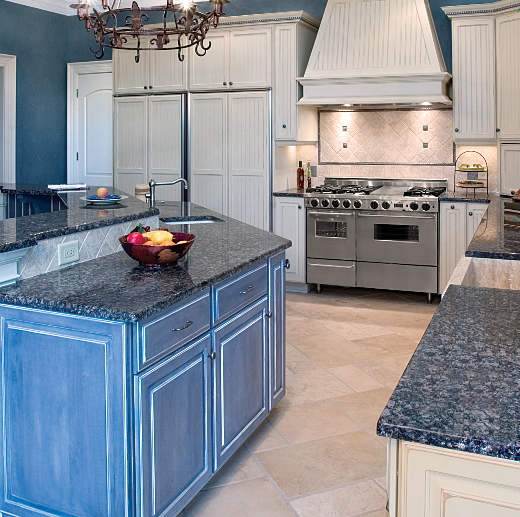 Beautiful kitchen with blue cabinet island